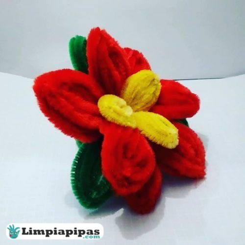 flores de pascua con limpiapipas
